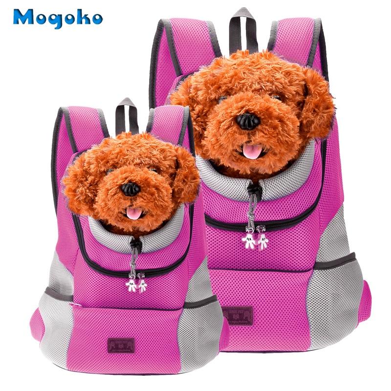 Mogoko ორმაგი მხრის ჩანთა Pet Dog წინა ჩანთა ლეკვი ძაღლი პორტატული მოგზაურობის ჩანთა Mesh ზურგჩანთის თავი გარეთ Pet Backpack ძაღლი ჩანთები Carrier