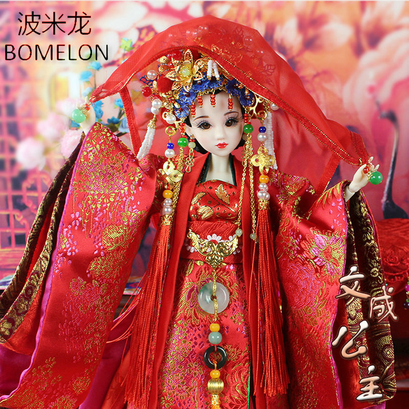 Handmade Chinese Bride Dolls Tang Princess Wencheng Ancient Costume Articulated 1/6 Bjd Jointed Doll  Toys Girls Birthday Gift high end handmade chinese dolls ancient costume tang princess jin yang jointed doll articulated kids toys girls birthday gift