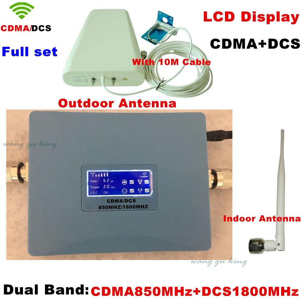LCD New Model CDMA 800 DCS 1800MHZ 20 Dbm Gain 62 Cdma+DCS Booster Repeater Dual Bands Booster WCDMA Repeater CDMA DCS Booster