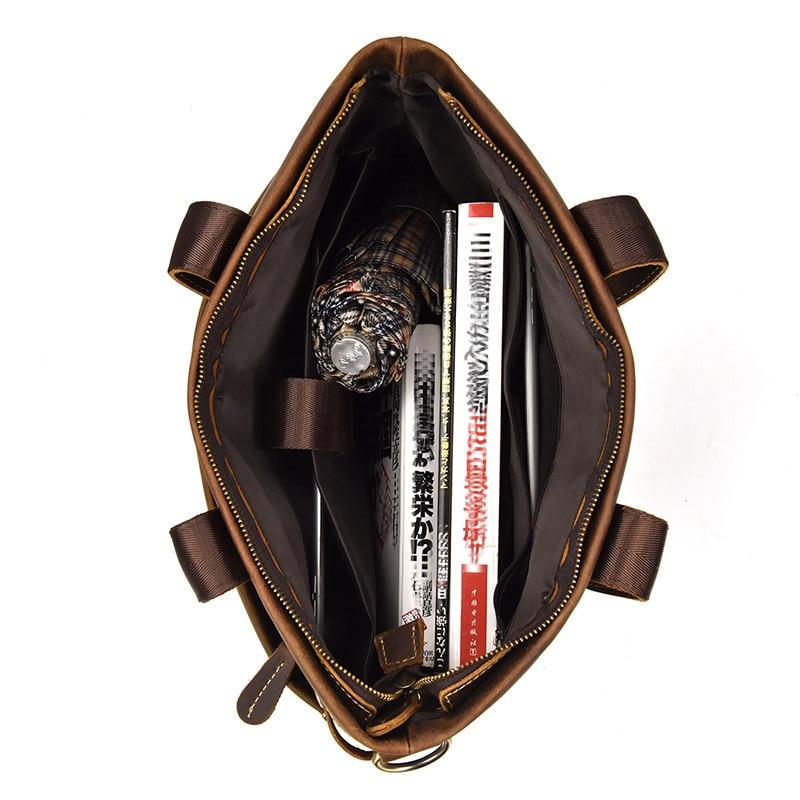 Leder Echtes Handtasche Tote Rindsleder Aktentasche 15 Brown Vintage Mens Business Büro Kuh tasche Laptop