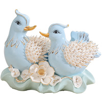 3D blue pink ceramic mandarin duck Feng Shui porcelain figurine home decor crafts lucky ornaments wedding decorations gift