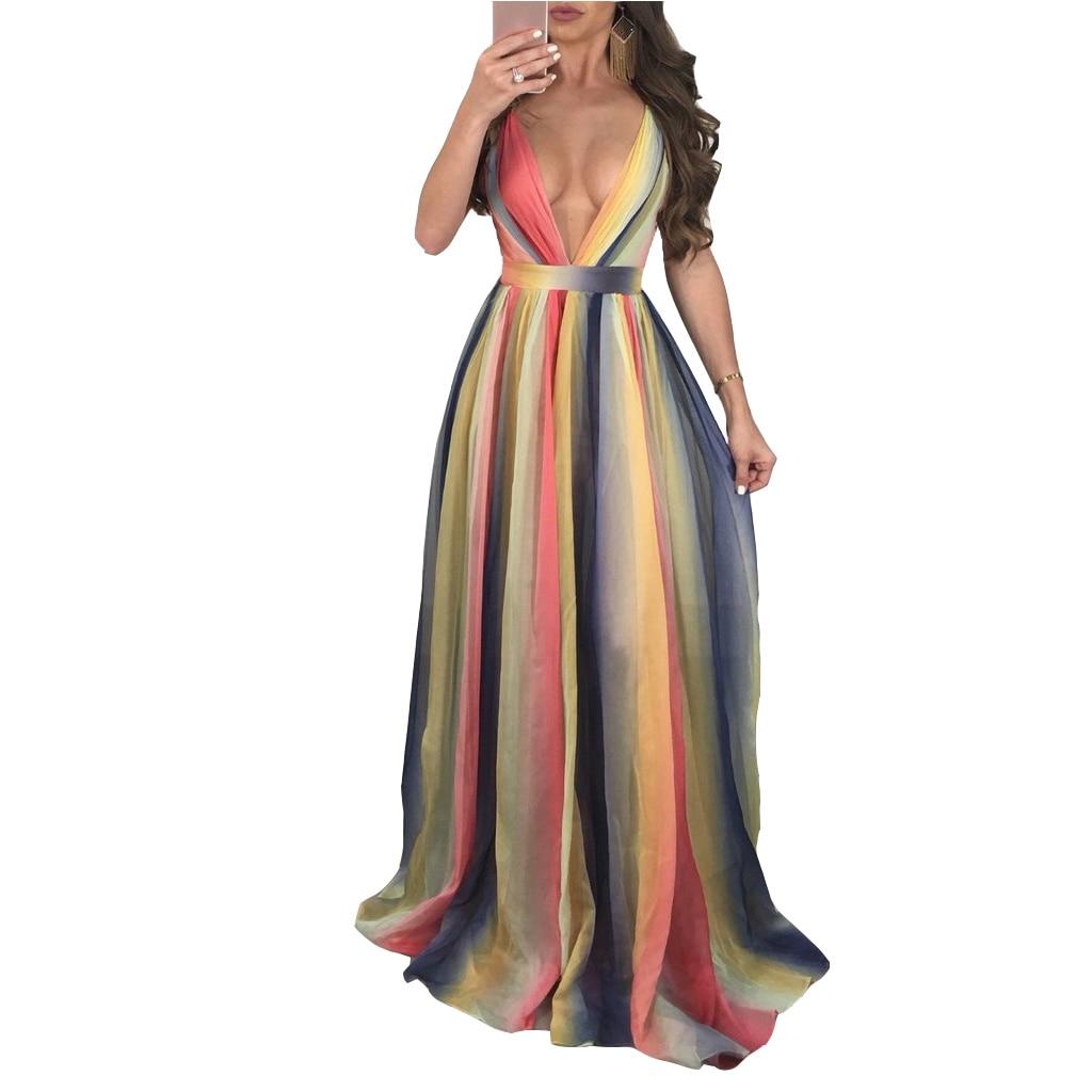 Sexy V Neck Backless Maxi Dress Women Gradual Rainbow Color Loose Long Dress Spaghetti Strap Summer Beach Holiday Lady Vestidos