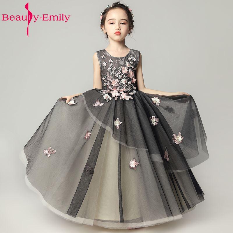 Beauty Emily White Black Luxury Pears Flower Girl Dresses 2018 Ball ...