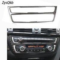 Tira de fibra carbono ar condicionado cd painel decorativo capa guarnição acessórios interiores do carro estilo adesivo para bmw f30 f34|Adesivos para carro| |  -
