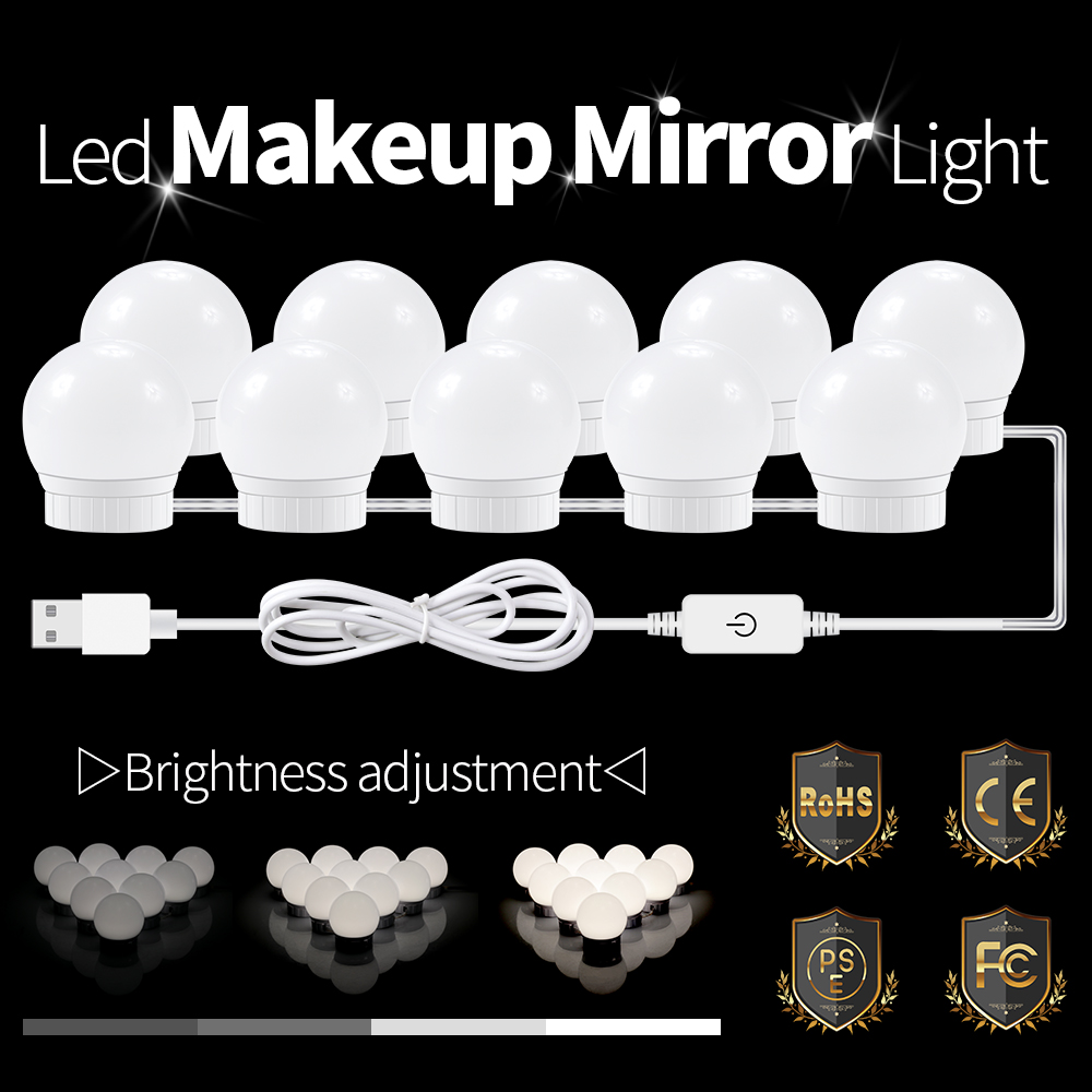 USB Charging Port Makeup Mirror LED Light Bulbs Kit Comestic Lamp For Dressing Table Adjustable Brightness Light 2 6 10 14 BulbsUSB Charging Port Makeup Mirror LED Light Bulbs Kit Comestic Lamp For Dressing Table Adjustable Brightness Light 2 6 10 14 Bulbs