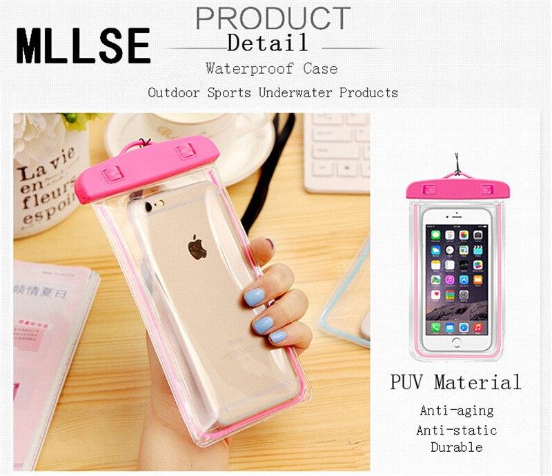 Mllse Люминесцентная Универсальный Водонепроницаемый чехол для Apple IPhone 5S <font><b>5</b></font> плавать Водонепроницаемый телефон мешок случаи