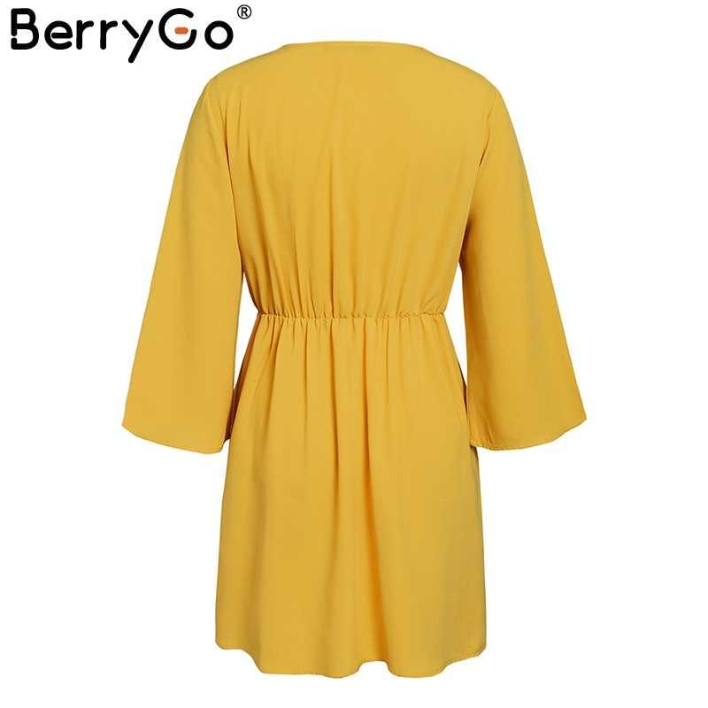 BerryGo Сексуальное Женское Платье с v-образным вырезом, эластичное, с высокой талией, с расклешенными рукавами, с бантом, вечернее платье, однотонное шифоновое красное платье, офисные женские платья