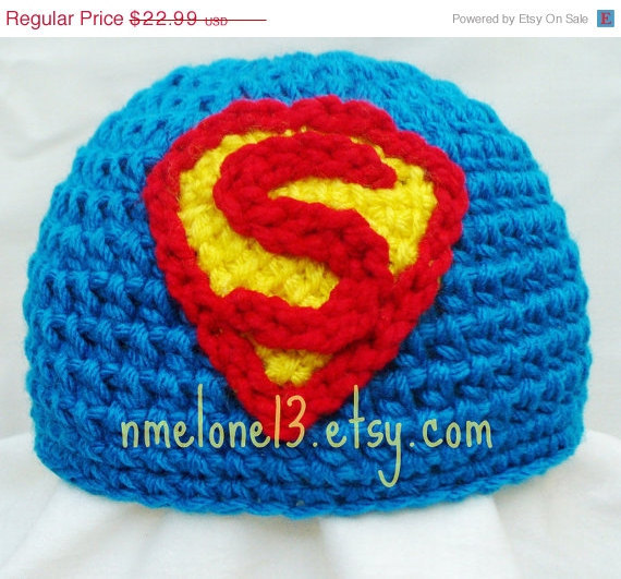 Handmade SuperMan crochet hat 0 to 10 years old 25% off Black Friday & Ciber Monday knitted warm cotton