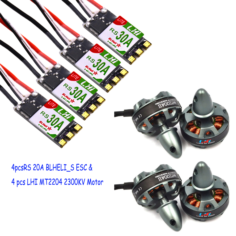 LHI FPV 4xMT2204 2300kv CW CCW FPV Brushless Motor (2-4S)+4XRS 30A 2-6s BLheli_S ESC Support Oneshot125 Oneshot42 Multishot lhi fpv 4x mt22042300kv cw ccw fpv brushless motor 2 4s 4pcs littlebee esc 20a speed controller for mini quadcopter qav250