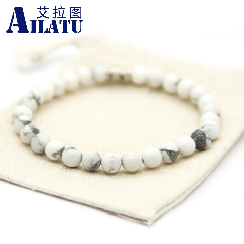 Ailatu Fashion Natural Tiger Eye, White Howlite, Lava Rock Stone Jewelry <font><b>Silver</b></font> Color <font><b>Tube</b></font> <font><b>Bracelet</b></font> Bring Peace and Health image