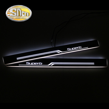 SNCN 4PCS Acrylic Moving LED Welcome Pedal Car Scuff Plate Pedal Door Sill Pathway Light For Skoda Superb 2 3 B6 B8 sncn 4pcs acrylic moving led welcome pedal car scuff plate pedal door sill pathway light for skoda octavia a5 a7