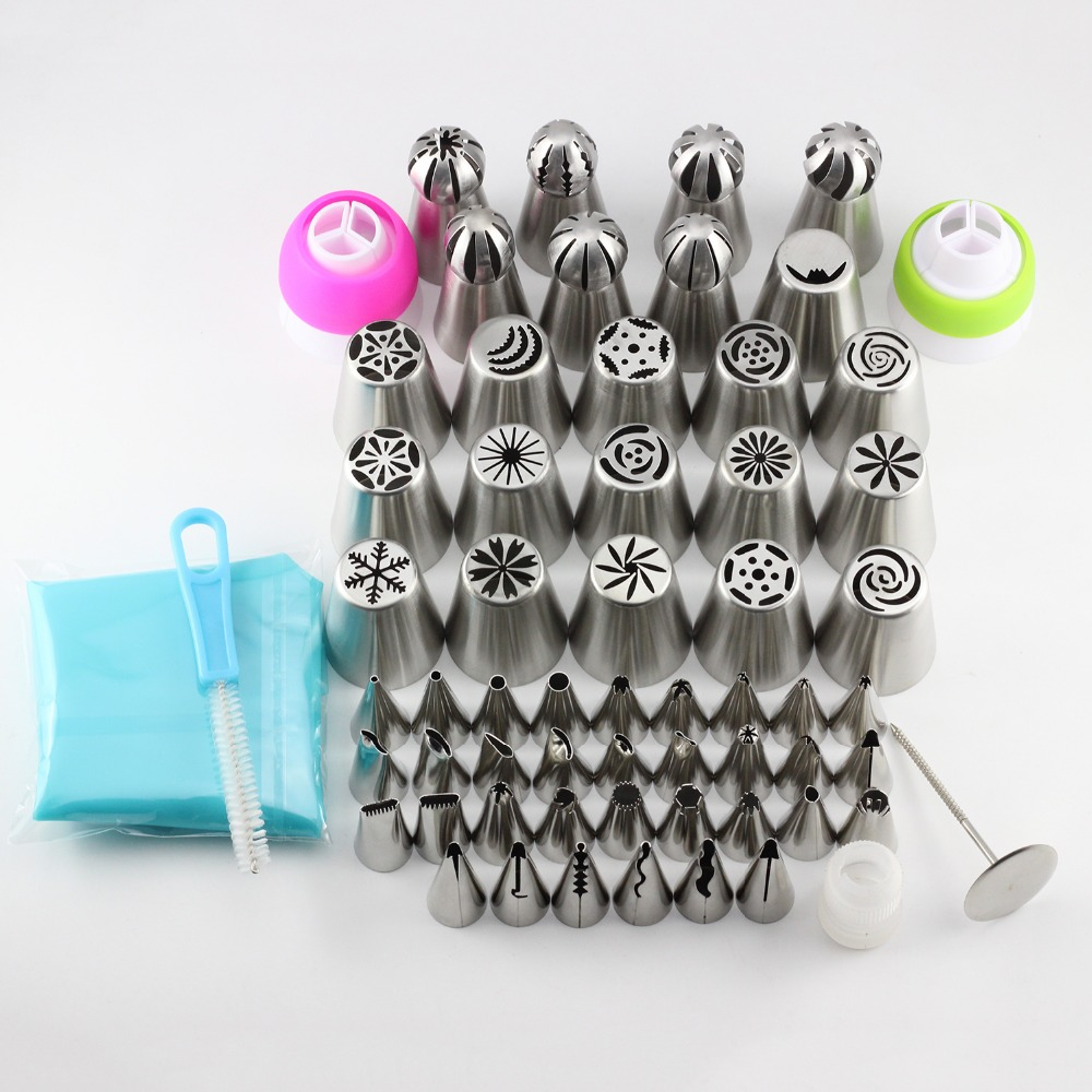 Mujiang 62 Pcs Russian Tulip Icing Piping Nozzles Korean Style Pastry Tips Cake Decoration Dessert Baking Stainless Steel Tools