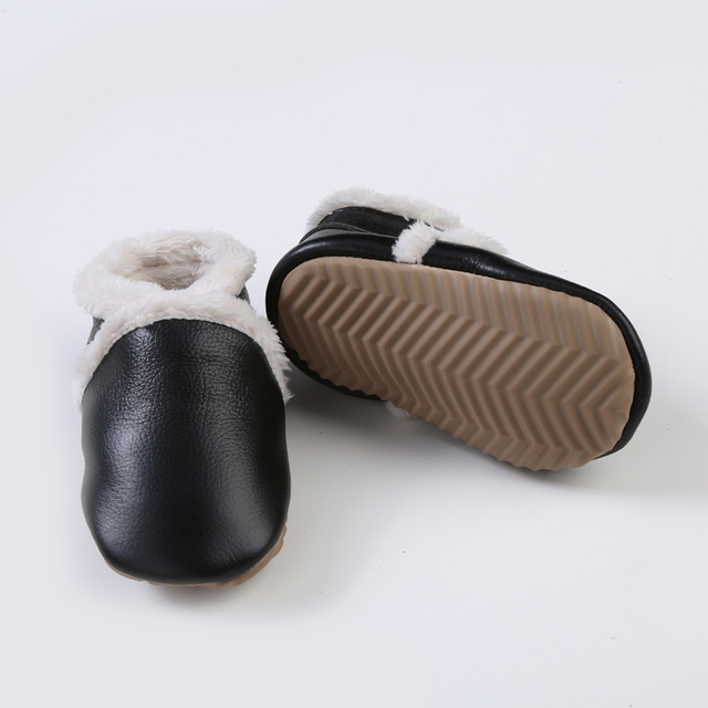 retail Winter warm New handmade Genuine Leather Girl Boys hard rubber sole first walkers baby moccasins Shoes toddler fur boots