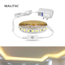Ultra Bright 5M LED Under Cabinet kitchen light Dimmable Touch Switch LED Strip lamp 4040 110V 220V For Wardrobe Closet lighting(China)