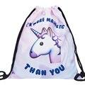 2016 Novos sacos de Cordão mochila Mulheres saco unicórnio 3d Printing softback mochila feminina harajuku mochilas unissex