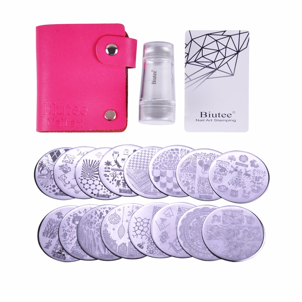 Nail Art Stamp Collection Set of 16pcs Nail Stamp Plates Nails Art Stamping Plate Scraper Stamper Set Leaves Flowers Animal