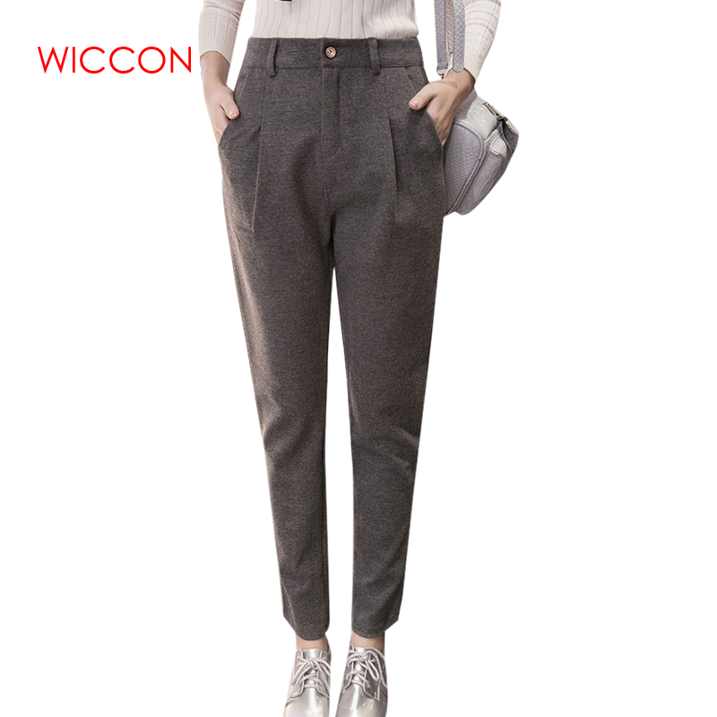 Autumn Winter Leisure Warm Woolen   Pants   Female Korean Fashion Solid Color Gray Black Harem   Pants   Casual Pockets   Capri   2XL