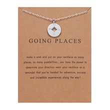 Fashion Jewelry Gold Color Go Places Compass Pendant Necklace Women Minimalist Clavicle Chain Choker Gift