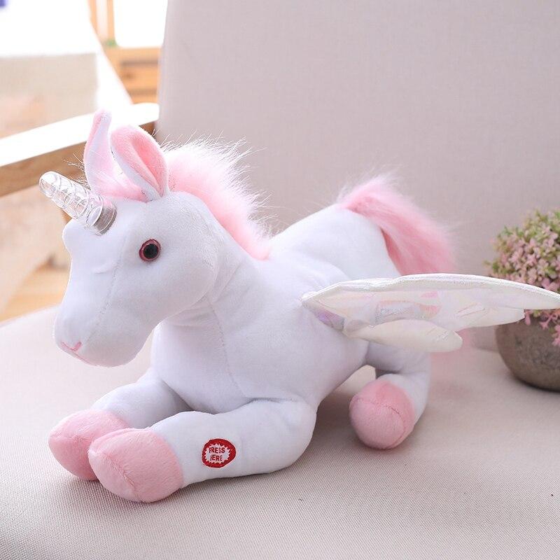 Light Up Horn Wing Waving Music Playing Unicorn Stuffed Animal Toy