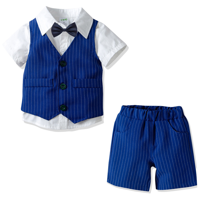2019 Summer Baby Boys Suits Short Sleeve Shirts+Woven Blue Vest&Trousers+Bow Ties 4PCS Sets Children's Baby Vestidos Dress Sets(China)