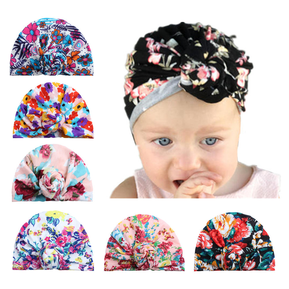 New Floral Print Baby Girl Hat with Circle Cotton Bohemia Turban Infant Beanie Baby Cap 1 PC