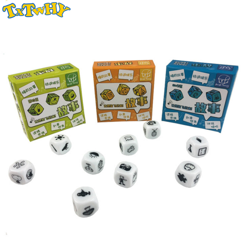 9 Pcs Dice Telling Story Cube With Box Story Dice Game English Instructions Family/Parents/Party Funny Imagine Magic Toys