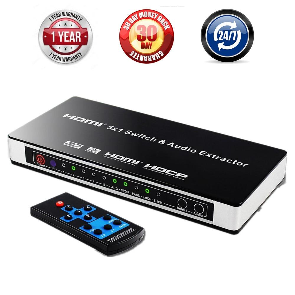 5 ports HDMI commutateur Audio extracteur 4K 5x1 1.4 HDMI commutateur avec ARC et IR à distance HDMI commutateur RCA séparateur pour PS3 PS4 XBox HDTV