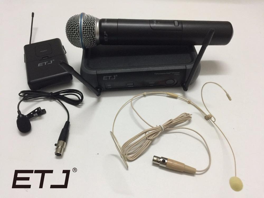 Prix pour ETJ Marque UHF PRO SANS FIL DOUBLE MICROPHONE SYSTÈME PGX24/BETA58 58A + REVERS + CASQUE MIC + CAS pour STADE