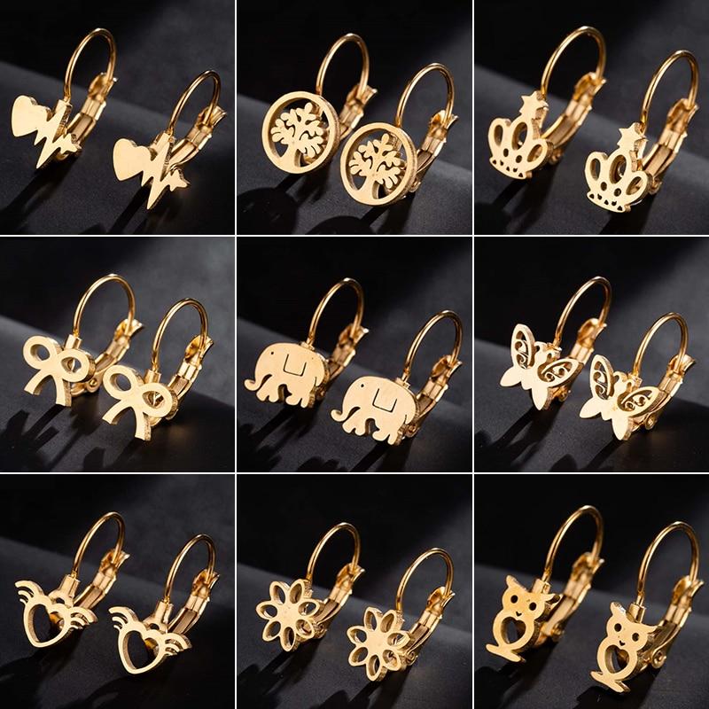 Jisensp Bohemian Fashion Earrings Women Jewelry Geometric Animal Stainless Steel Stud Earrings Best Gift For Girl Kid Pendientes