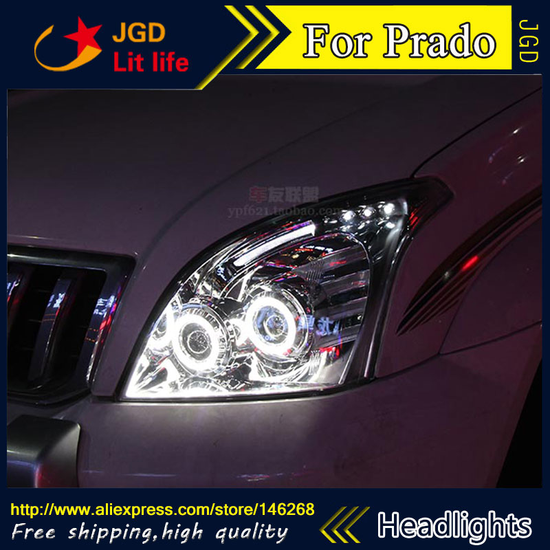 Free shipping ! Car styling LED HID Rio LED headlights Head Lamp case for Toyota Prado 2003-2009 Bi-Xenon Lens low beam  free shipping car styling led hid rio led headlights head lamp case for chevrolet camaro bi xenon lens low beam
