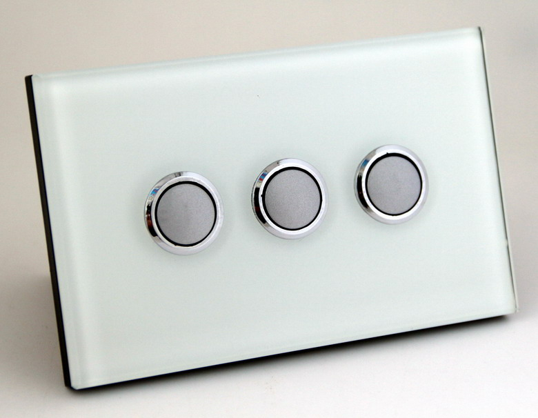 Us Au Nz White 3 Gang 1 Way Tempered Gl Panel Push On Wall Light Switch With Led Indicator In Switches From Home Improvement Aliexpress
