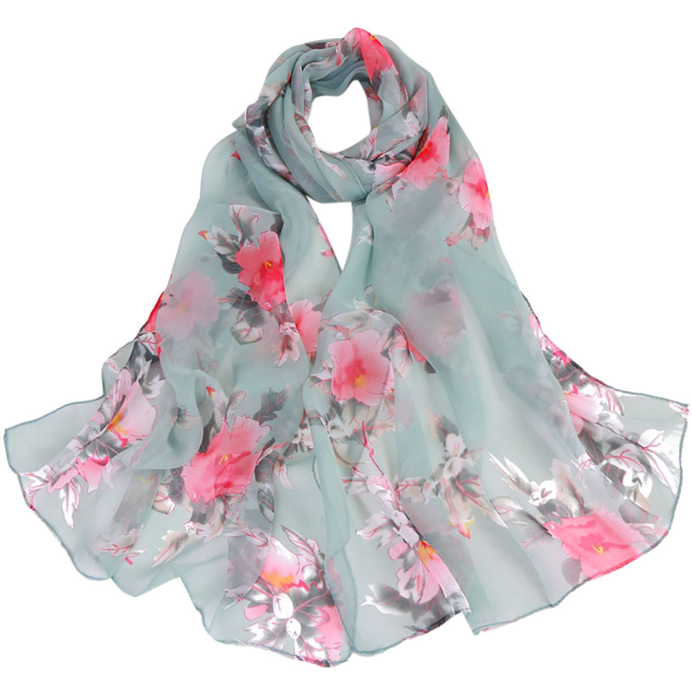 Women Ladies Long Classic DAISY PRINT Pattern Flower Print Shawl Scarf Gift