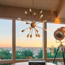 Estilo Nórdico americana moderna bola de cristal araña de hierro rama de espina de pescado colgante de luz salón dormitorio restaurante lámpara colgante