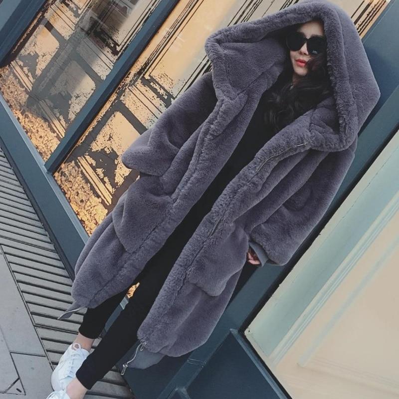 Lâche À Faux La Capuchon Plus Veste Rex Long Survêtement Taille Lapin De 2017 Hiver Fourrure Imitation H173 Épais Manteaux Femelle Femmes tqXX4T