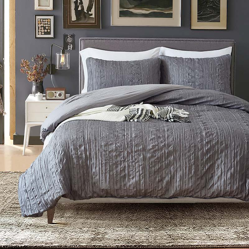 Grey Color Pleated Bedding Set Duvet Cover Set Pillowcases Home Textile Bedclothes Adult Bed Set US Queen Size