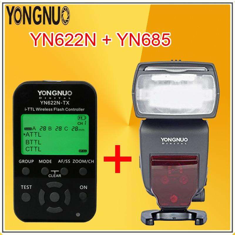 YONGNUO YN685 Wireless High Speed Sync TTL Speedlite Flash Build in Receiver + YN622N-TX with LED Transmitter For Nikon Cameras yongnuo yn685 yn 685 беспроводной доступ в эти speedlite флэш построить в ttl приемник работает с yn622c yn622ii c yn622c tx yn560iv yn560 tx