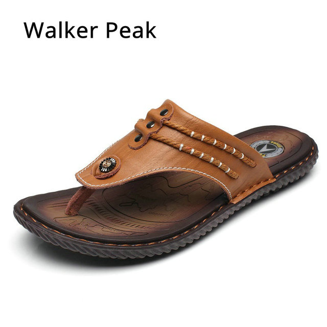 8eb7053e3 Luxury Brand 2018 New Men s Flip Flops Genuine Leather Slippers Summer  Fashion Beach Sandals Shoes For