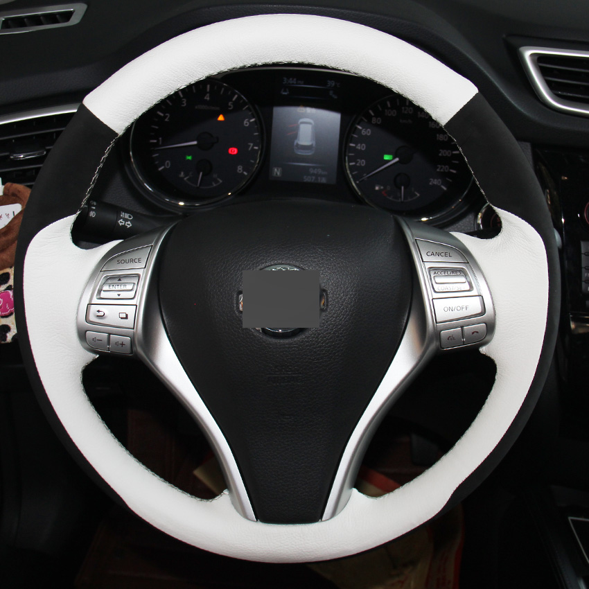 White Genuine Leather Black Suede Steering Wheel Cover for Nissan Teana Altima 2013-2016 X-Trail QASHQAI Rogue 2014-2016 Sentra