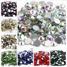 S6~ ss34 AAAAA высокое качество кристалл не горячей фиксации Стразы супер яркие стеклянные стразы 3D дизайн ногтей украшения DIY платье одежда