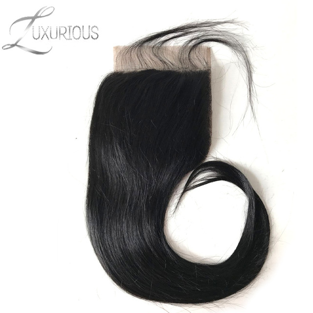 Luxurious Brazilian Straight 5X5 Lace Closure With Baby Hair 8-20inch 100% Remy Human Hair Free Part Shipping Free