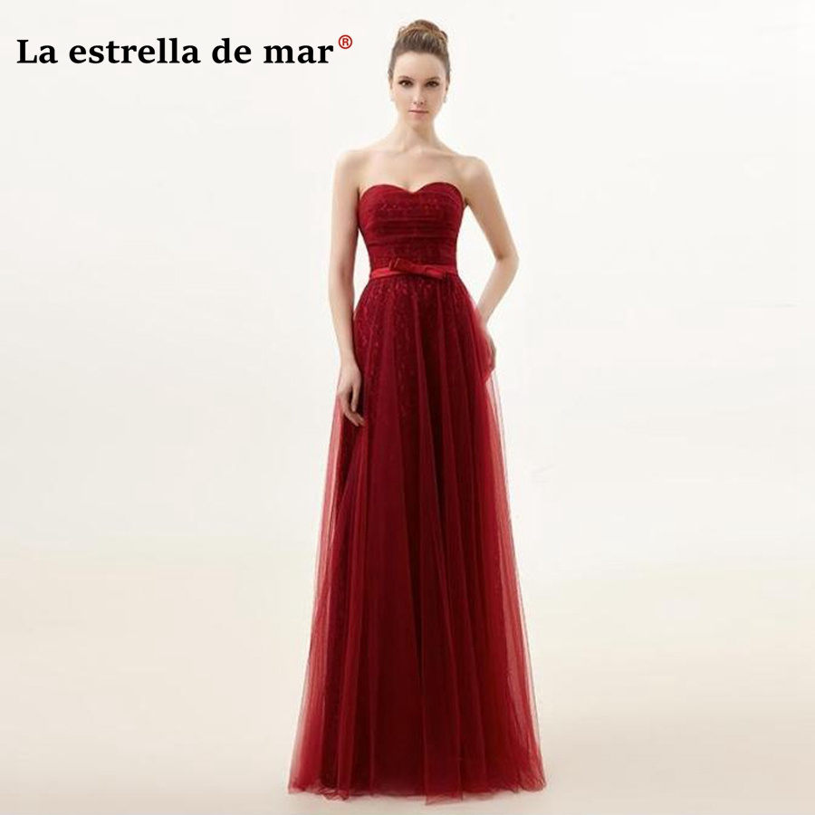 robe demoiselle d'honneur2018 new lace strapless halter a line burgundy   bridesmaid     dresses   long cheap vestidos de madrinha