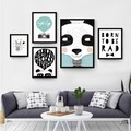 Preto e Branco Minimalista Nordic animal Love Quotes Canvas Art Print Poster Pintura do Retrato Da Parede Home Kids Room Decor No Frame