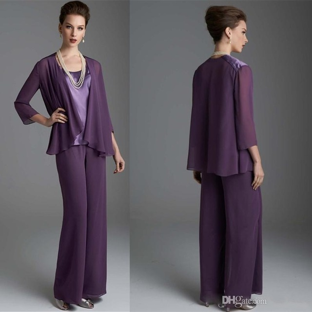 b1a30f9f22c 3 Pieces Mother Of The Bride Pants Suit For Weddings 2017 Purple Chiffon  Mother s Groom Pantsuits Plus Size Mothers Formal Wear