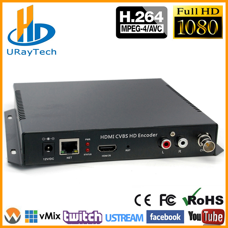 DHL Gratis Verzending MPEG4 HDMI + CVBS / Composiet / BNC + R / L Audio Video Audio Encoder H.264 IPTV HD Live Streaming Encoder