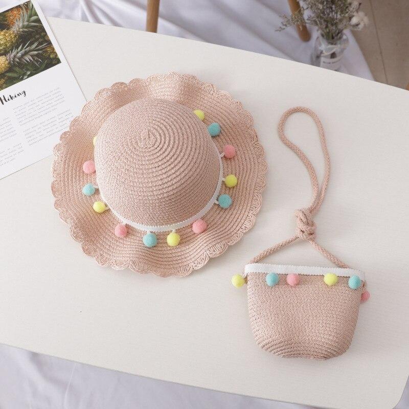 Children's Woven Straw Hat Shoulder Bag Set Summer Girl Cute Cartoon Strawberry Beach Travel Sunscreen Wave Lace Sun Cap U6