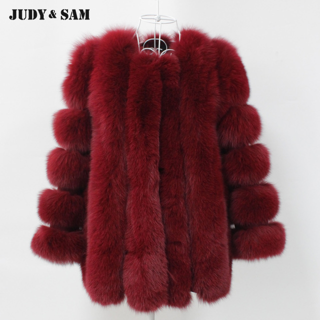 Fox Fur Coat Women Long Style Coat Wine Red Stripe Fox Fur Jacket In Real  Fur Warm Luxury Winter Coat df18b35c4