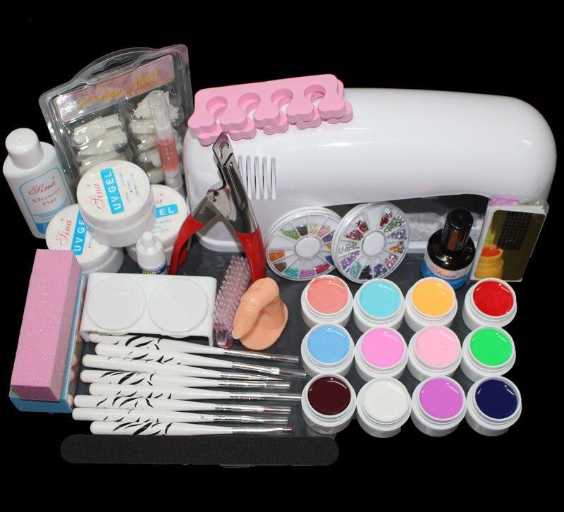 Free Shipping Professional Nail Art Kit Color Uv Gel Full: Full Pro 9W White Cure Lamp Dryer & 12 Color UV Gel Nail