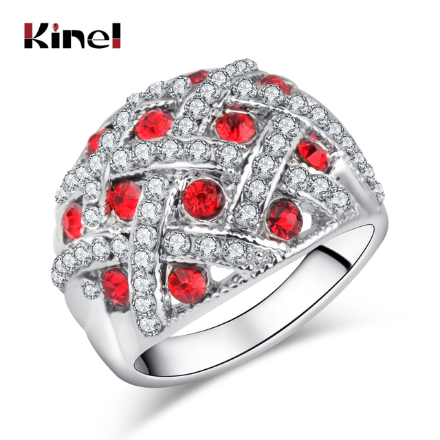 Kinel Vintage Jewelry Engagement Rings For Women Silver Color Retro Look Big Ova