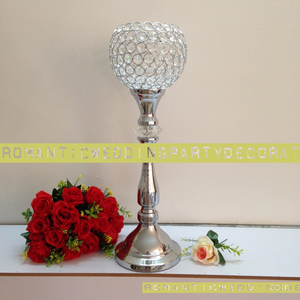 24.8 Silver Wedding Flower Vase Bling Crystal Table Centerpiece Sparkling Road Leads Wedding Decoration 10pcs/lot Sophisticated Technologies Home Decor Candle Holders 63cm