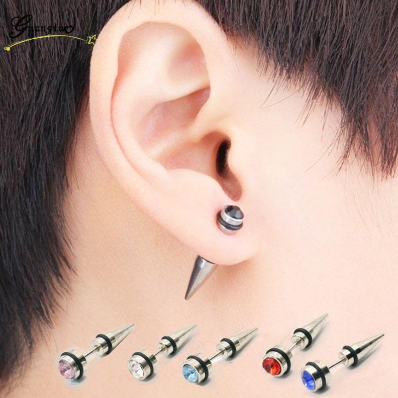 Multicolor Hyperbole Punk Crystal Zircon Ear Piercing Jewelry Small Stud Earrings For Men Women Jewelry Earring Bijoux Gift